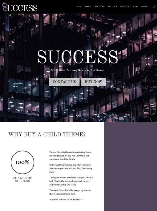SUCCESS a child theme home page 01